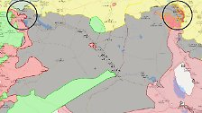 """Die ungefähre Lage in Syrien und dem Irak am 16. November 2016: Die Offensive auf Mossul hat begonnen (rechter Kreis), erste Vororte der Millionenstadt konnten von der irakischen Armee befreit werden. Im Norden Syriens (linker Kreis) hat die türkische Armee im Rahmen der Operation """"Euphrates Shield"""" eine Pufferzone zum IS-Gebiet aufgebaut."""