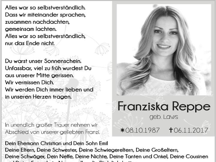 Franziska Reppe soll am 24. November beigesetzt werden.