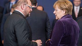 Finden Schulz und Merkel noch zusammen? Heute geht das Politdrama weiter.