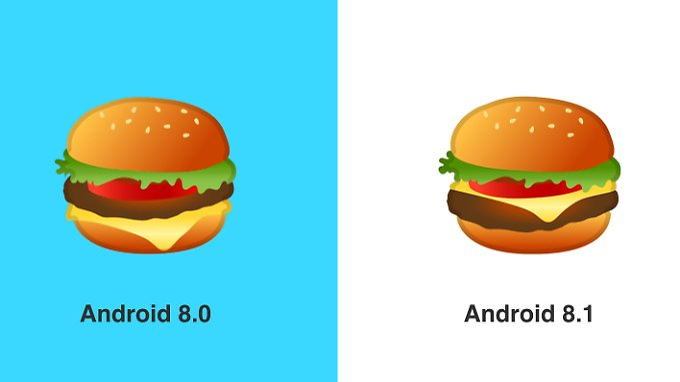 Das aktuelle und das neue Burger-Emoji.