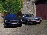 Zwei Generation 7er BMW, aber beide mit üppigen Zwölfzylindern unterwegs.