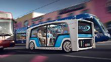 So stellt sich Rinspeed in Zukunft sein multifunktionales Vehicle vor: mal Bus, mal LKW, mal rollendes Büro.