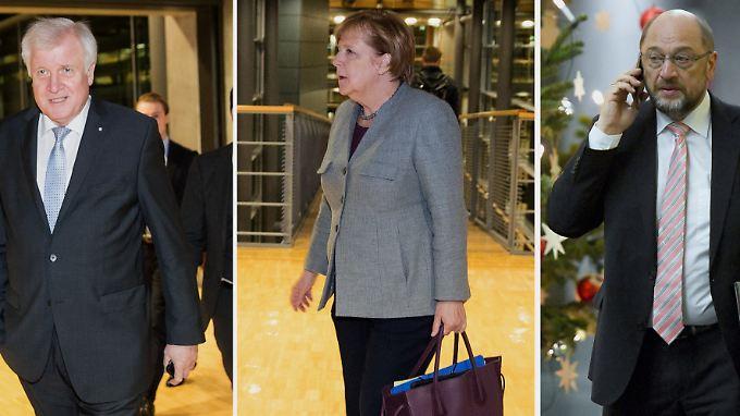 CSU-Chef Horst Seehofer, Kanzlerin und CDU-Chefin Angela Merkel und SPD-Vorsitzender Martin Schulz treffen beim Spitzentreffen ein.