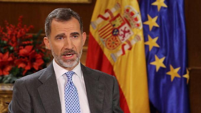 """""""Niemand kann die eigenen Ideen gegen die Rechte der anderen durchsetzen"""", sagte König Felipe mit Blick auf die Separatisten."""