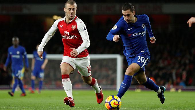 Torschützen unter sich: Arsenals Jack Wilshere (l.) im Duell mit Eden Hazard.