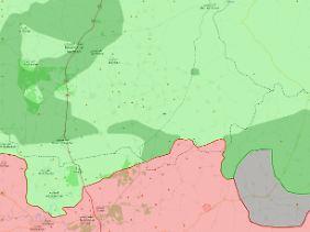 Die ungefähre Situation nach Weihnachten 2017: Innerhalb des Ausschnittes halten gemäßigte Rebellen (hellgrün) und Islamisten (dunkelgrün) einen Großteil des Geländes. Rote Flächen stehen für Assads Truppen.