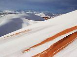 Seltenes Phänomen in Hitzeregion: Schnee bedeckt Dünen der Sahara