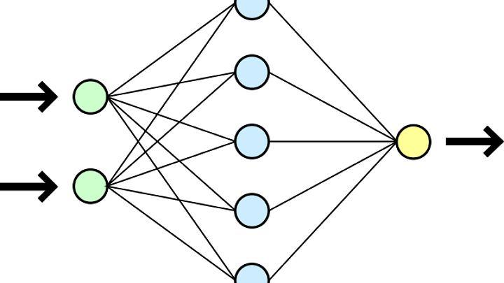 Eine vereinfachte Darstellung eines künstlichen neuronalen Netzwerks.