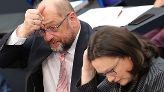 GroKo-Diskussionen in der SPD: Schulz kämpft, Nahles warnt und Seehofer spottet