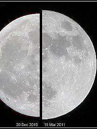 """Links: ein Vollmond in durchschnittlicher Entfernung von der Erde. Rechts: ein """"Supermond""""."""
