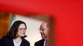 """Andrea Nahles: Schulz' Entscheidung verdient """"höchsten Respekt und Anerkennung""""."""