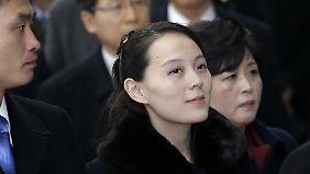 Kim Yo Jong erreicht die Olympischen Winterspiele in Südkorea.