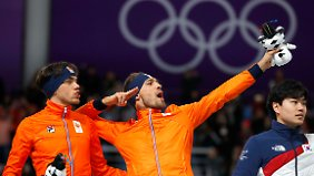 Jubeln mit der Pose von Sprintstar Usain Bolt: Kjeld Nuis feiert seine Goldmedaille.
