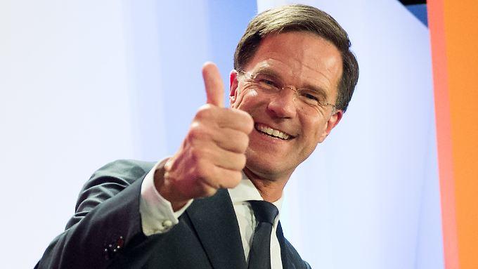 Mark Rutte 2017 auf einer Wahlparty