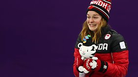 Kim Boutin trägt die olympische Freude im Gesicht.