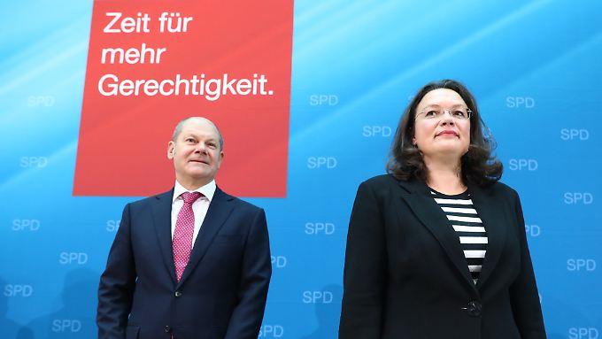 """Der geschäftsführende SPD-Chef Olaf Scholz gilt als einziger als gesetzt auf der Liste, die seine mögliche Nachfolgerin Andrea Nahles nicht """"zerreden"""" lassen will."""