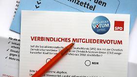 Der Stimmzettel, der über die GroKo entscheidet.