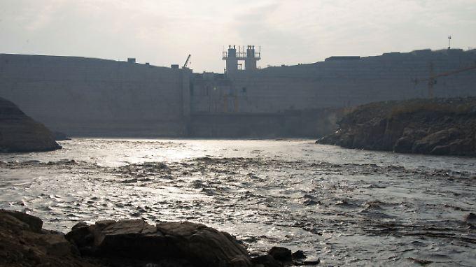 Die Baustelle des Grand Ethiopian Renaissance Dam im Nordwesten von Äthiopien.