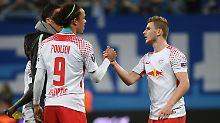 Marseille ist in Ordnung, oder? Die Leipziger Yussuf Poulsen und Timo Werner.