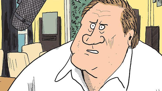 """Ist gern """"anderswo"""": Depardieu als Comicfigur."""