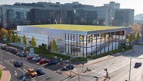 """Eine Computer-Darstellung zeigt die geplante Lidl-""""Metropolfiliale"""" in Frankfurt-Niederrad."""