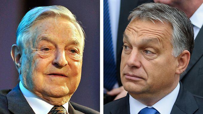 Ungarns Ministerpräsident Orbán (r) unterstellte Soros im Wahlkampf, eine muslimische Massenzuwanderung zu organisieren.