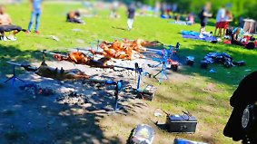 Kaum zu glauben, aber wahr: 150 Partygäste grillen zwölf Schafe in Berliner Park