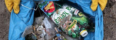 Am Ostseestrand gesammelter Plastikmüll.