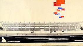 So sollte das Luschniki-Stadion im Jahr 1979 von der Wasserseite aus aussehen.