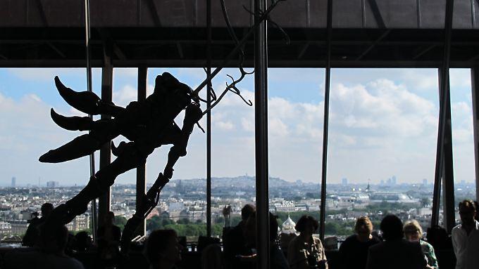 Ein Teil des Dinosaurier-Skeletts ist vor Beginn der Auktion auf dem Eiffelturm als Silhouette zu sehen.