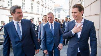 Schulterschluss gegen Merkel: Söder und Kurz betonen gemeinsame Haltung im Asylstreit