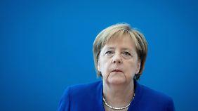 Angela Merkel vor der Vorstandssitzung der CDU am Montagmorgen.