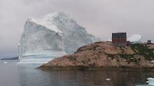 Der Eisberg ist direkt vor dem Dorf Innaarsuit auf Grund gelaufen.