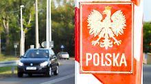 Am nahen Grenzübergang Mescherin herrscht reger Betrieb.