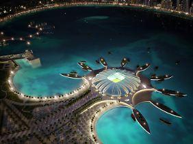 Das Computerbild zeigt das Doha Port Stadium in Katar.