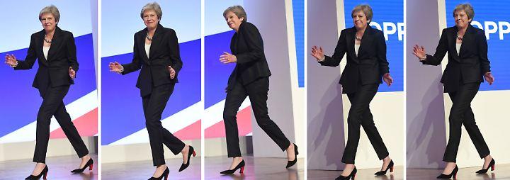 Kämpferische Rede mit Tanzeinlage: May will an umstrittener Brexit-Strategie festhalten