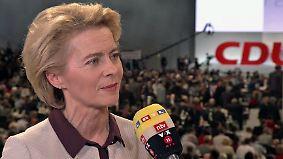 """Von der Leyen beim CDU-Parteitag: """"Dann geht's bergab mit der Zustimmung"""""""