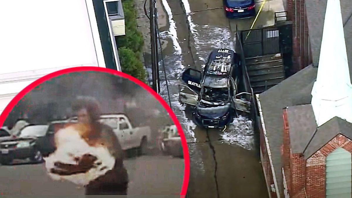 Plötzlicher Angriff im Einsatz: Mann zündet mit Fackel Polizisten in Auto an