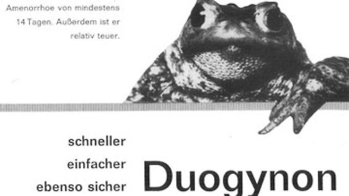 Eine Werbeplakat für Duogynon.