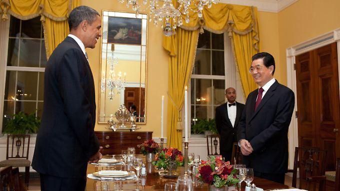 Treffen der Supermächte: Chinas Präsident Hu mit US-Präsident Obama.