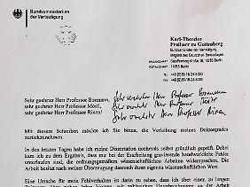 Das Schreiben Guttenbergs an seine Uni auf falschem Briefpapier.