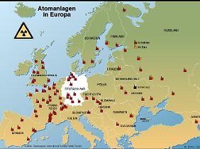In Europa nutzen die meisten Länder Atomenergie.