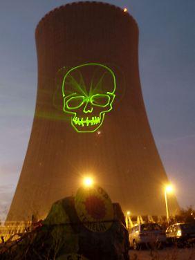 Protestaktion am Atomkraftwerk Temelin.