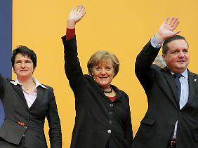 Wahlkampf der CDU in Baden-Württemberg (v.l.n.r.): Tanja Gönner, Angela Merkel und Stefan Mappus.