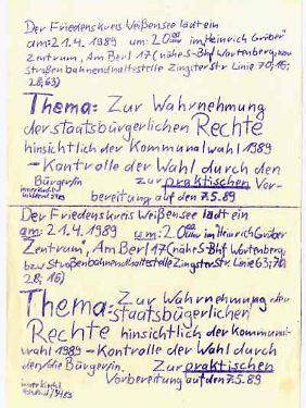 Einladung des Friedenskreises Weißensee. Quelle: Robert-Havemann-Gesellschaft.