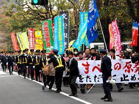 Nur vereinzelt gibt es Proteste gegen Tepco wie hier in Tokio.