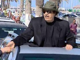Gaddafi bei seinem Auftritt am Donnerstag in Tripolis.