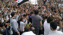 Archivbild von Protesten in Talbiseh in der Provinz Homs.