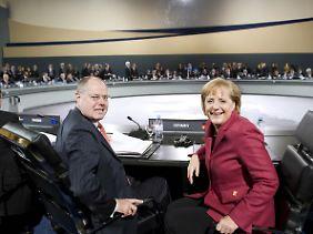 In der Zeit der Großen Koalition war Steinbrück Merkels Finanzminister.