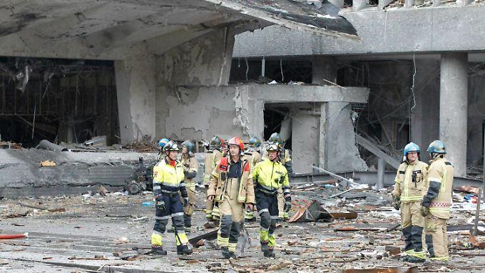 Die Zerstörungen in der Osloer Innenstadt sind immens.